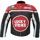 LUCKY STRIKE 0113 Cowhide Real Leather Motorcycle Motorbike Biker Racing Jacket
