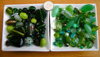 100g Mixed Glass Beads in Green Tones - Lampwork/Faceted/Pearl and Shells