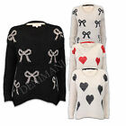 LADIES EYELASH MOHAIR BOW RIBBONS HEARTS TOP WOMENS FLUFFY KNITTED WINTER JUMPER
