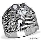 5.15 Ct Round Cut Black & Clear CZ Wide Band Fashion Ring Women's Size 5-10