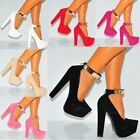ANKLE CUFF GOLD METAL STRAP PLATFORMS HIGH HEELS COURT SHOES SIZE 3 4 5 6 7 8