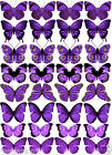 32 MIXED Stunning Purple Butterflies Various Designs Edible Cup Cake Toppers