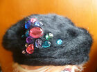 CLAIRES BLACK WOOL MIX FAUX FUR JEWEL DETAIL BERET HAT ONE SIZE BNWT