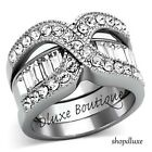Stunning Round Cut CZ Stainless Steel 2 Piece Wedding Ring Set Women's Size 5-10
