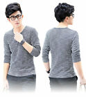 UK NEW Knitted Cotton Long Sleeved V-Neck Sweater Jumper Top Pullover T-Shirt