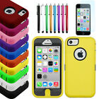 Colorful Heavy Duty Hybrid Rugged Hard Case Cover Skin For iPhone 5C+Stylus+Film