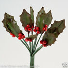 Christmas Miniature Holly Leaves & Berries Stems Favour Cake Decoration Craft
