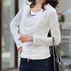 New Autumn Womens OL Ruffle Front Detail Neck Slim Shirt Blouse Tops Long Sleeve