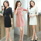 New Women's Long Sleeve Fitted Crew Neck Double-Breasted Sheath Dress with Belt