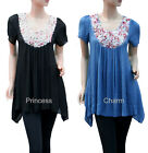 Summer Casual Tunic Top Blue Black Short Sleeve w Flower Motif SZ 8 10 12 14 16