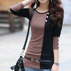 New Stylish Blouse Women's Hit-color Splicing Tops Slim Fit Long Sleeve T-Shirts
