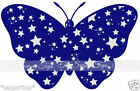 25 x CUTE White Stars on Blue Butterflies Edible Decorations Cup Cake Toppers