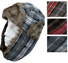 UNISEX TARTAN TRAPPER HAT WITH FAUX FUR AND EAR FLAPS - PINK RED BLACK - 59cm