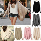 Hot Women's Cable Knitted Batwing Cape Cardigan Sweater Shawls Loose Jacket Coat