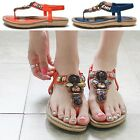 Women Shoes Jeweled Thong T-Strap Slingback Flat Sandals Blue Orange (1238-5)