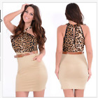 ANIMAL PRINT HALTER NECK BODYCON BELTED MINI DRESS SIZE M/10
