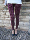 LONG Leggings Velour Burnout Fabric Oxblood SIZES 8 - 18 Tall