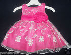 Hot Pink Flower Girl Christening Bridesmaid Party Dress 0-24m Christmas Easter