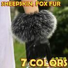 Fox Fur Sheepskin Luxury Women Winter Genuine Real Leather Gloves Cashmere Lined