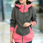 Korean Style Thick Jacket Women's Casual Loose Long Sleeve Zip Up Hoodie Sweater