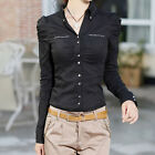 New Women Long Puff Sleeve OL Career Casual Button Down Shirt Cotton Tops Blouse