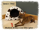 BROWN COW FAUX FUR HOODED IGLOO PET / DOG BED 5 SIZES AVAILABLE
