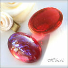 Dragons Breath OVAL Mexican Fire Opal Red Purple Flatback Cabochons Glass Cabs