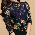 Fashion Lace Floral Tops Women's Slim Turtle Neck Long Puff Sleeve Thick Blouse