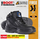 Mongrel 261020 Work Boots. Steel Toe Safety. Black Lace Up Zip-Sider Ankle Boot
