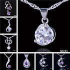 Fashion Women Crystal Amethyst 925 Sterling Silver Dangle Pendants Fit Necklaces