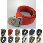 Military Sports Iron Man Steel Alloy Buckle Mens Webbing Waist Canvas Thick Belt