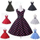 Sexy Retro Polka Dots 50's A-Line Swing Vintage Housewife Prom Party Ball Dress