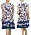 China Print Tunic Day Dress or Long Top Blue White Burgundy Purple Size 10 14