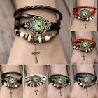 Retro Women Quartz Leather Wrist Watch Bracelet Vintage Cross Pendant Weave Wrap