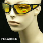 Polarized HD night drive vision sun glasses yellow frame cycle shoot amber new