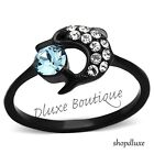 Women's Round Cut Aqua CZ Black Stainless Steel Dolphin Fashion Ring Size 5-10