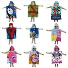 Kids Hooded poncho towel over 18 different characters to choose from