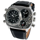OULM Mens Fashion Military Army Dual Time Zones Quartz Wrist Watch Leather Gift