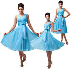 2014 Sexy Deep V-Neck Bridesmaid Chiffon Pageant Party Ball Evening Prom Dresses
