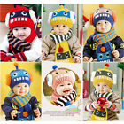 Wo Baby Cartoon Robot Girl Boy Kid Knit Sweater Cap Winter Warm Hat Cap + Scarf