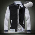 New Casual Men Stand Collar Button Down Warm Thick Coat Fashion Baseball Sweater