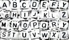 50 /100pcs 6mm white cube single alphabet letter acrylic beads A-Z by 1st class