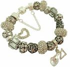 LADIES CHARM BRACELET CLEAR ANTIQUE SILVER SPARKLE  BEADS GIFT BOXED