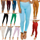 New Womens Ladies Full Length Plain Colour Stretch Leggings Size S M L XL 8-16