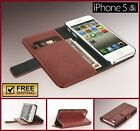 New black brown leather credit card wallet hard cover case for Apple iphone 5 5s
