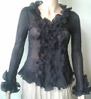 Victorian ruffle blouse, shirt, Steam punk, goth size 8-10 ,12-14 14-16