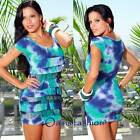 WOMENS DRESS Sun Summer Club Cocktail Tie Dye Tiered Ruffle Ribbed Cotton S M L