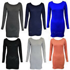 LADIES WOMENS PLAIN LONG SLEEVE TUNIC TOPS BODYCON  PARTY DRESS TOP 8-14