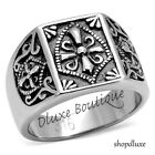 Men's Stainless Steel 316L Masonic Knights Templar Coat Of Arms Ring Size 8-14