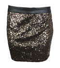 Womens Black Sequin PVC Waist Zip Back Stretch Ladies Party Mini Skirt Size 8-14
